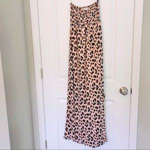 Tiare Hawaii Strapless Cheetah Print Maxi Dress